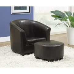 Kids Chair And Ottoman Two Wicker Chairs Table 39 Dark Brown Leather Look 2 Piece Set