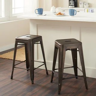 industrial kitchen stools island table buy counter bar online at overstock com our tabouret 24 inch vintage patina backless stool set of 2