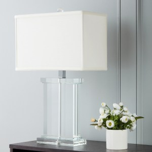 Silver Orchid Crystal Rectangular White Fabric Shade Chrome-based Contemporary Table Lamp
