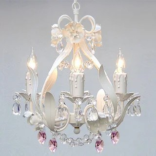 Maison Rouge Turner Gallery Wrought Iron And Crystal Mini 4 Light Chandelier