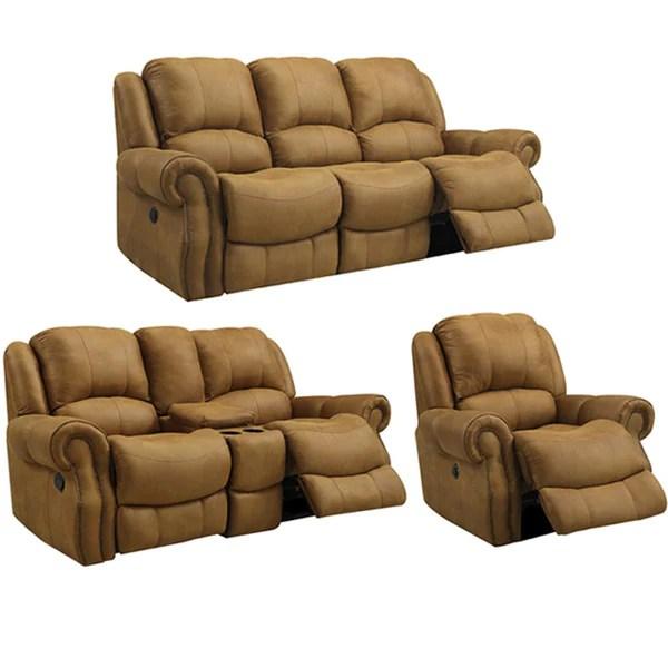 ryker reclining sofa and loveseat 2 piece set fundas chaise longue el corte ingles buckskin brown sofa, recliner ...
