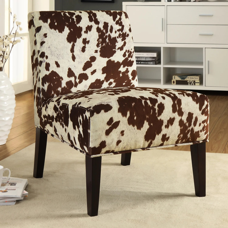 cowhide print accent chair recliner chairs perth inspire q peterson fabric slipper