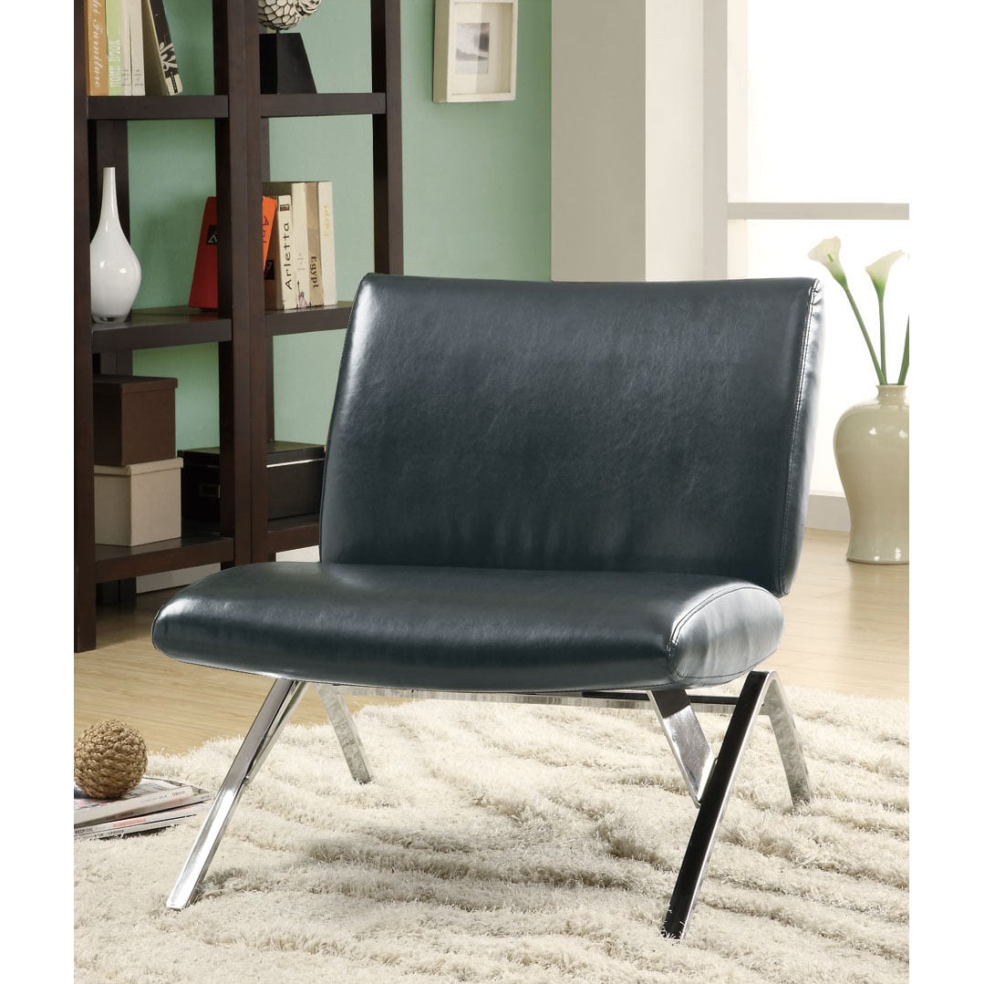 Accent Chairs Modern Black Leather Look Chrome Metal Modern Accent Chair