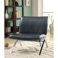 Black Leather-Look / Chrome Metal Modern Accent Chair ...
