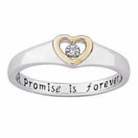 Sterling Silver 'A Promise is Forever' Diamond Heart ...