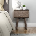 Details About Small Bedside Table 2 Drawer Accent Wood Midcentury Modern Nightstand Low