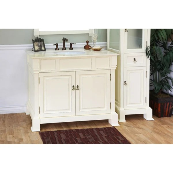 Shop Olivia 42inch Cream White Wood Bathroom Vanity  Free Shipping Today  Overstock  7018376