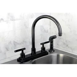 kitchen faucet black home depot cabinet hardware shop nickel two handle free shipping today