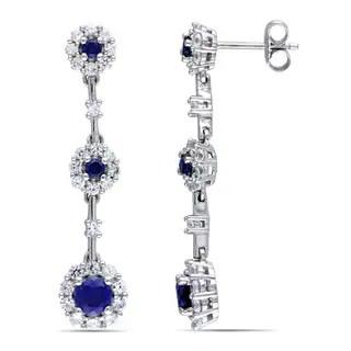 Shop Miadora 10k White Gold Created Sapphire and Diamond