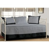 Greenland Home Fashions Brentwood Storm Gray/Black Quilted ...