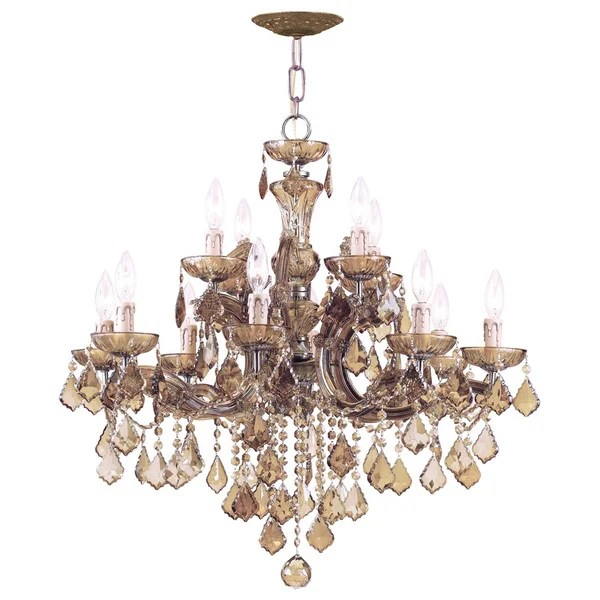Crystorama Maria Theresa Collection 12 Light Antique Brass Chandelier