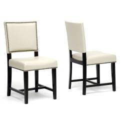 Leather Dining Chairs Modern Reclining Chair Theaters Baxton Studio Nottingham Cream Faux
