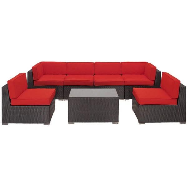 Aero Outdoor Wicker Patio 7 Piece Sectional Sofa Set In