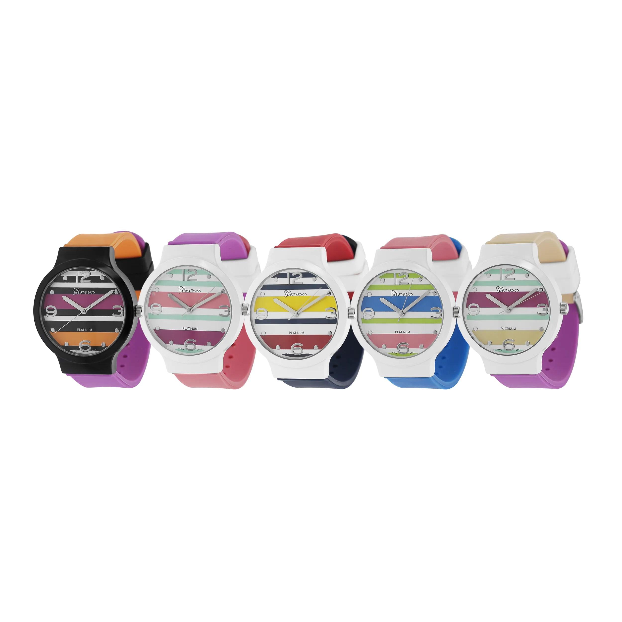 best chairs geneva glider reviews bilana platinum women 39s layered stripes silicone watch