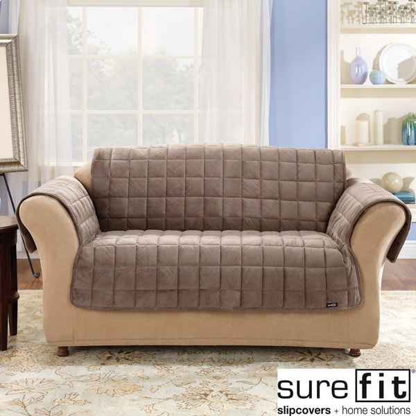 sure fit soft suede sofa slipcover bed cup holder deluxe comfort cover - 14695974 overstock ...