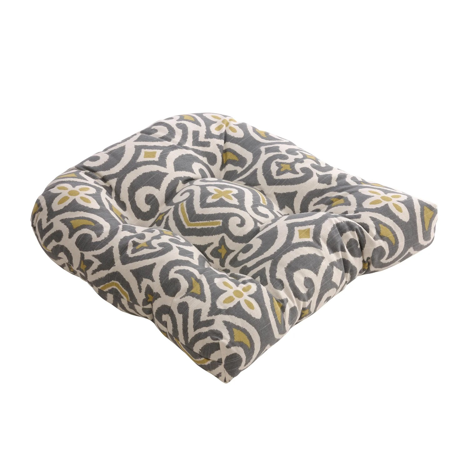 grey chair cushions hanging stand for sale pillow perfect gray greenish yellow damask reversible