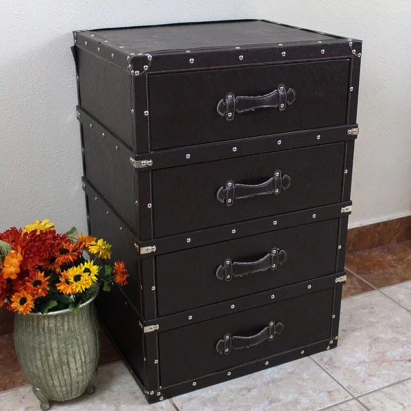 International Caravan Vintage Antique Faux Leather Four Drawer Chest Free Shipping Today