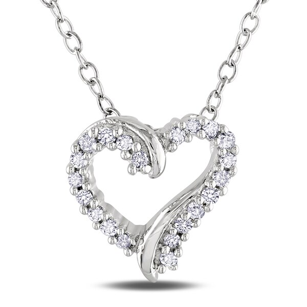 Haylee Jewels Sterling Silver Diamond Heart Necklace (H-I