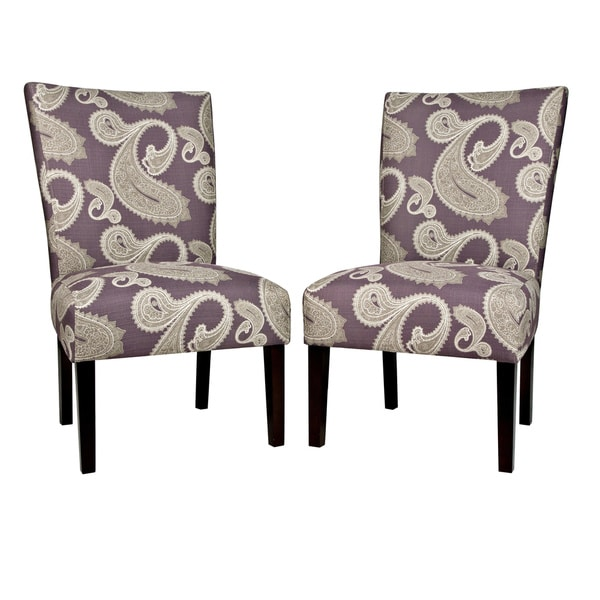 purple upholstered dining chairs office chair caster replacement shop handy living bradford feathered paisley amethyst armless set of 2