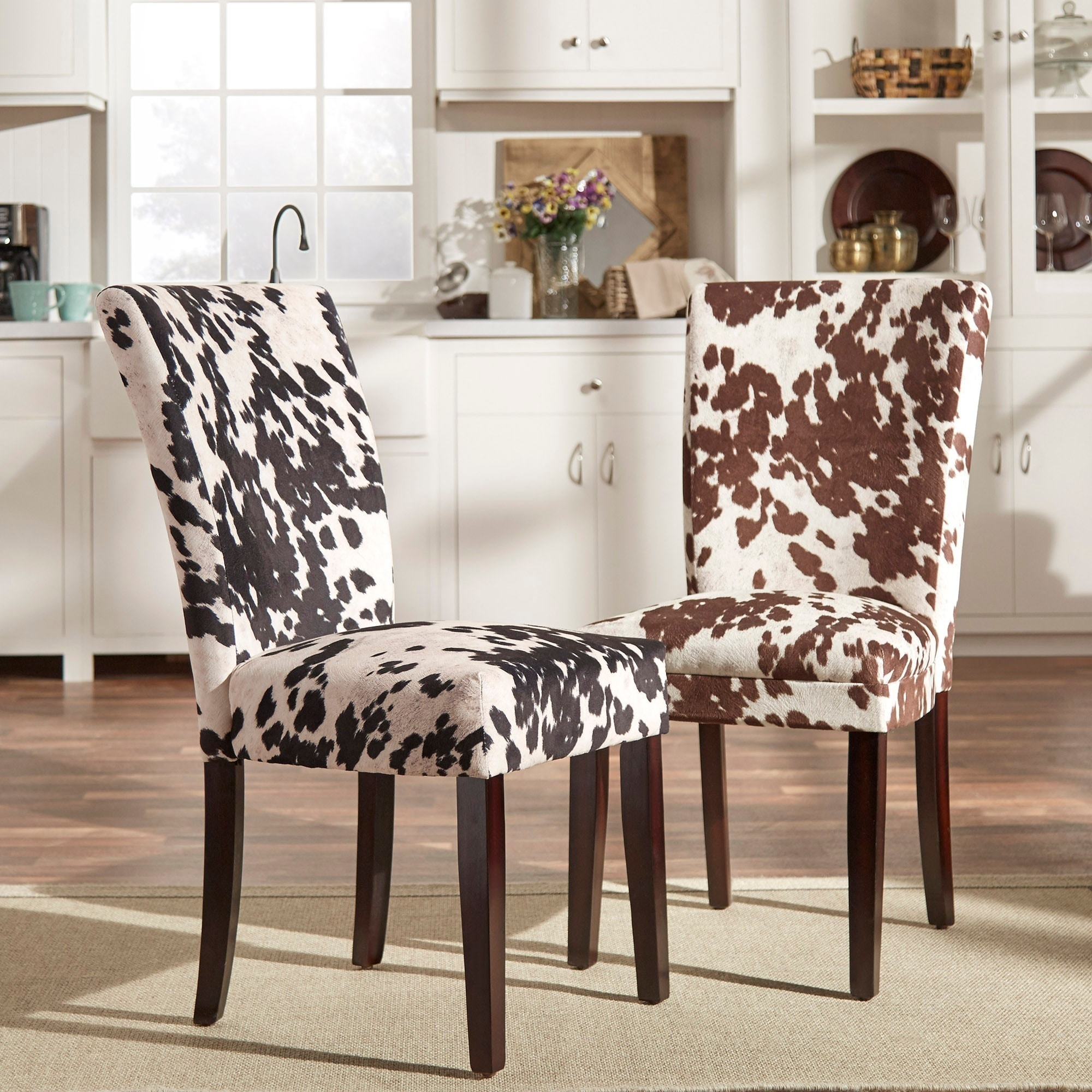 overstock com dining room chairs scuba chair covers wholesale shop portman cow hide parson set of 2 by