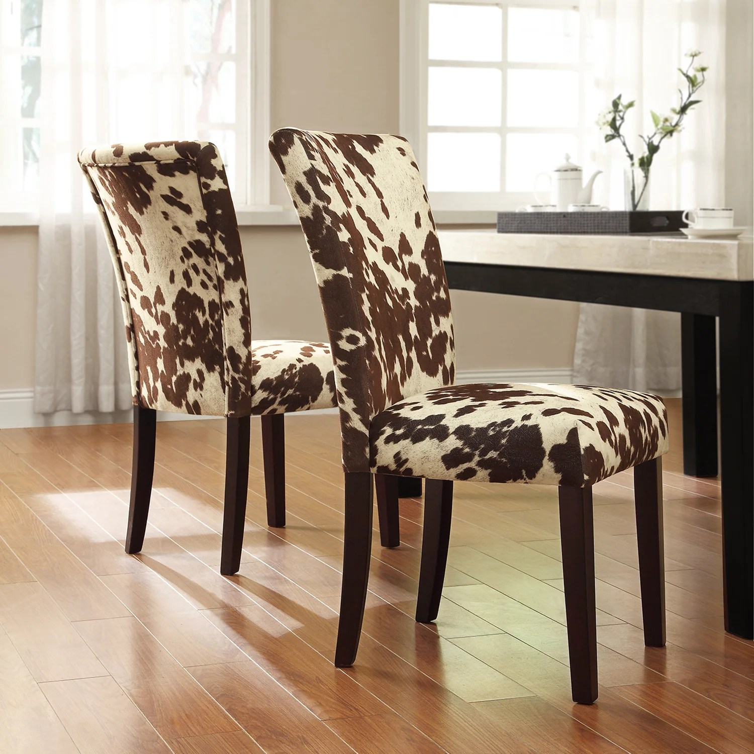 Cow Hide Chair Details About Portman Cow Hide Parson Dining Chairs Set Of 2 By Inspire Q Bold