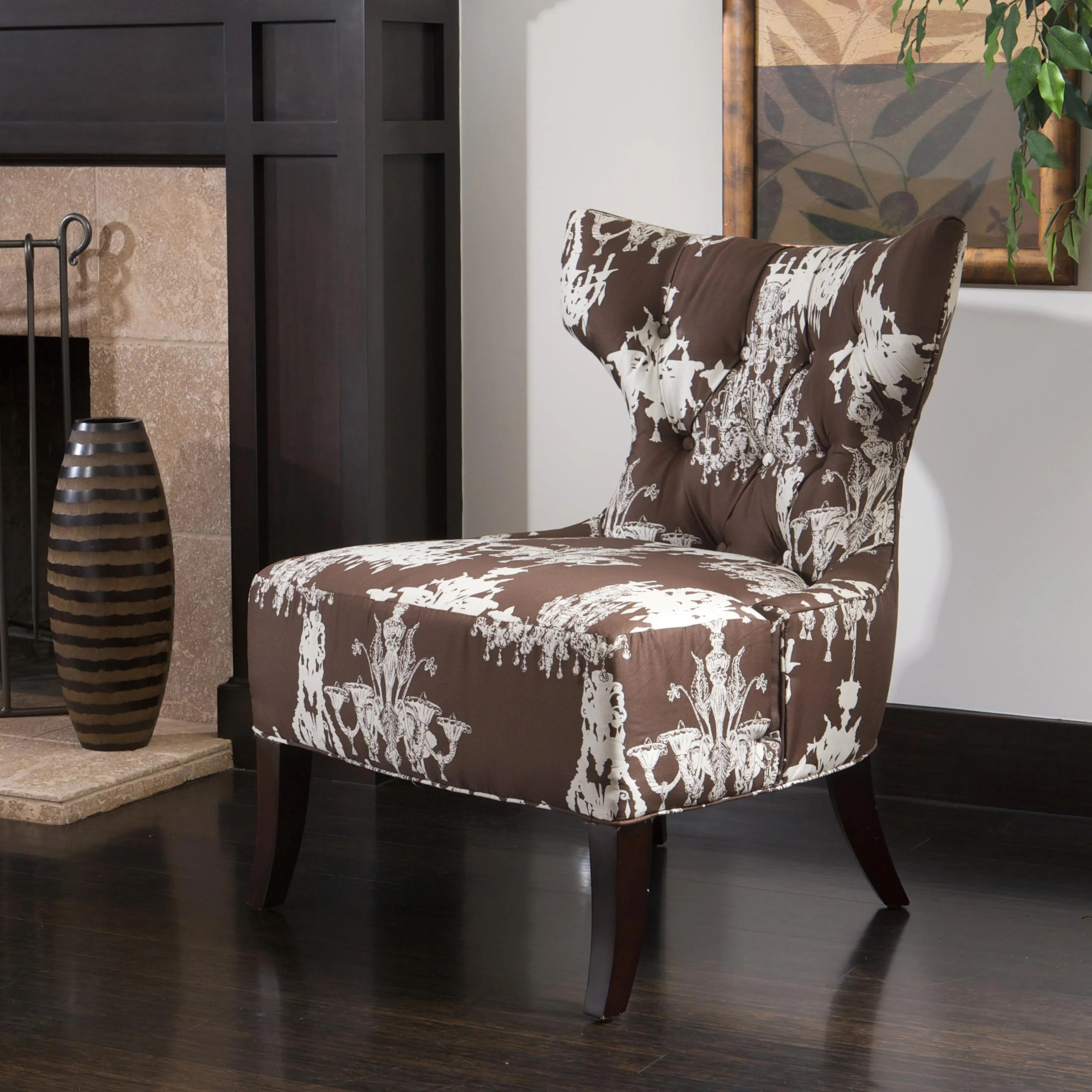 overstock arm chair stool adalah chandelier-print fabric brown/ white accent - free shipping today overstock.com 13296085