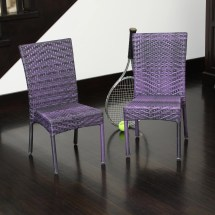 Children' -weather Purple Wicker Chairs Set Of 2