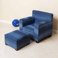 Kids Chair And Ottoman Wooden Mat Blue Denim Fabric Kid 39s Club Set