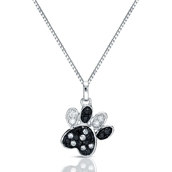 Shop Auriya 1/4ctw Black and White Diamond Dog Paw