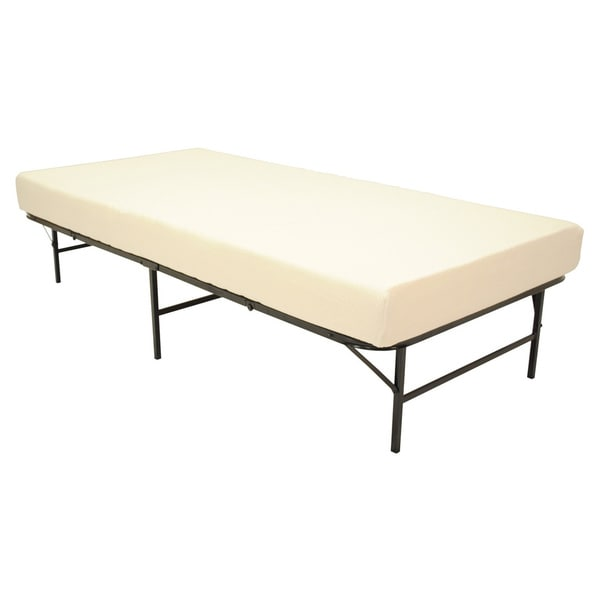 Pragma Quad Fold Bed Frame Twin Size With 6 Inch Memory Foam Mattress