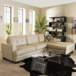 Baxton Studio Dobson Modern Cream Bonded Leather Tufted Sectional Sofa Overstock 7327151