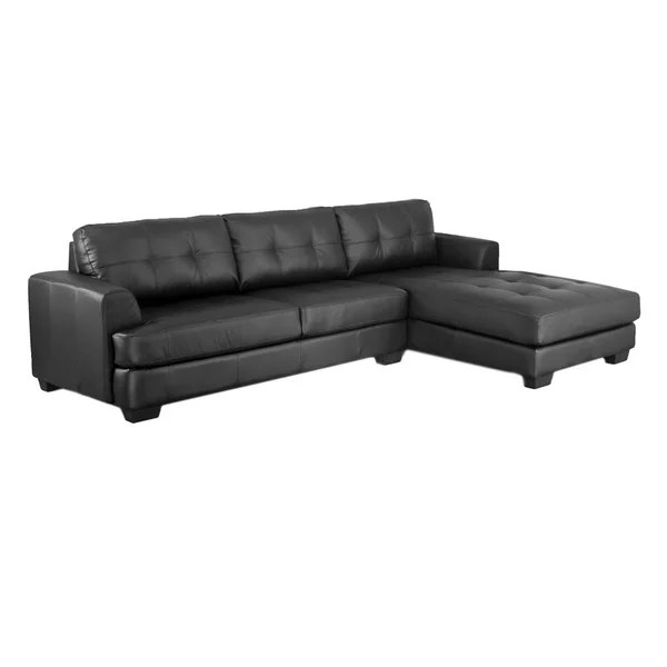 baxton studio dobson leather modern sectional sofa sofas for sale shop black - free ...
