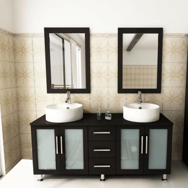 Shop Kokols Modern Double 60inch Free Standing Bathroom Vanity Sink Mirror Combo  Free