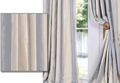 Faux Silk Curtains Blue