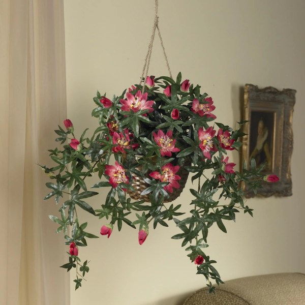 Silk 24- Hanging Passion Flower Basket