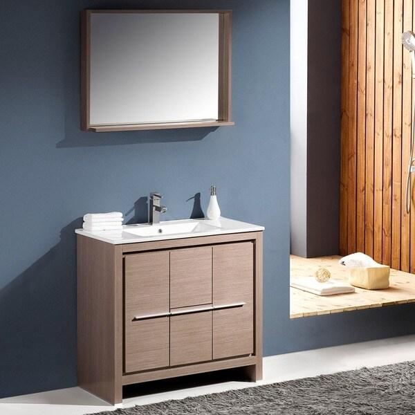Shop Fresca Allier 36inch Grey Oak Modern Bathroom Vanity