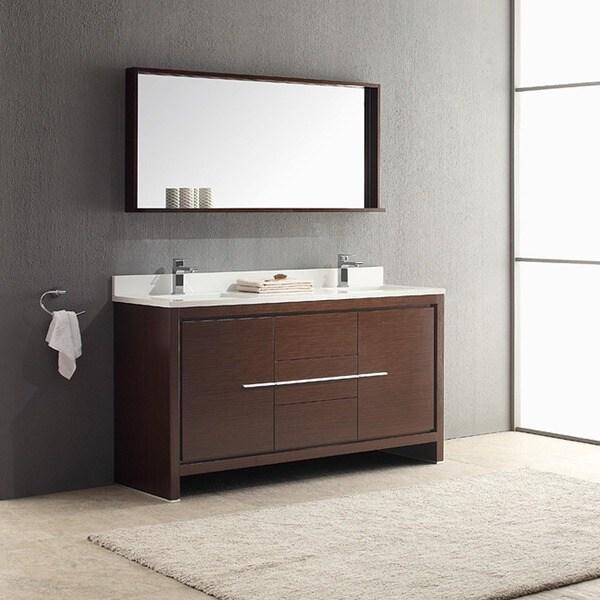 Shop Fresca Allier 60inch Wenge Brown Modern Double Sink Bathroom Vanity with Mirror  Free