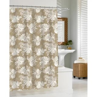 overstock kitchen cabinets island with wheels shop coastal seashells sand shower curtain - free shipping ...