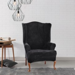 Sure Fit Wing Chair Slipcover Toddler Upholstered Rocking Canada Shop Stretch Plush Black Free