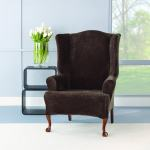 Sure Fit Stretch Plush Chocolate Wing Chair Slipcover Overstock 7538938