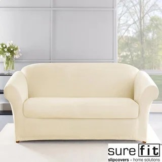 sure fit stretch plush 2 piece t sofa slipcover designer sofas and chairs uk classic duck washable - 1125512 ...