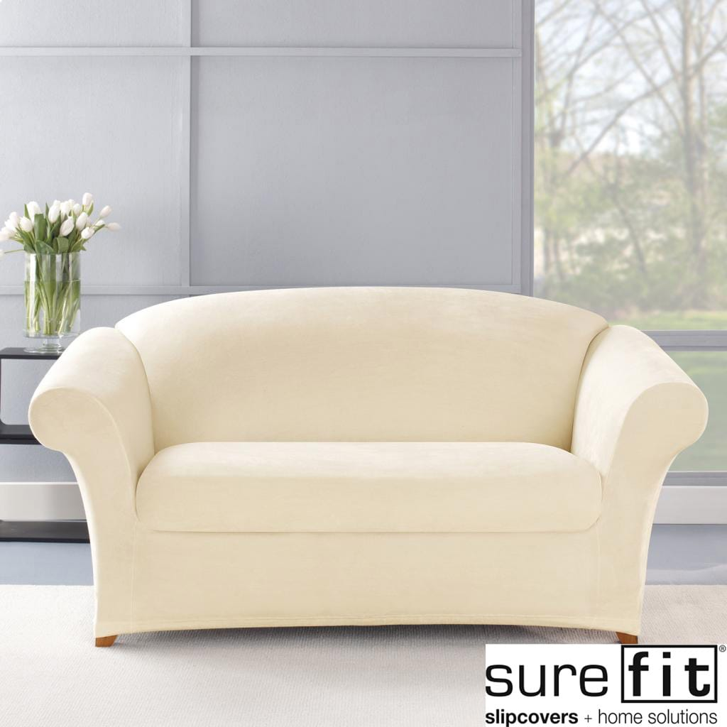 overstock sofa covers bamboo tray table stretch plush cream loveseat slipcover