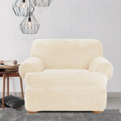 Chair Slipcover T Cushion Wedding Covers Midlands Shop Sure Fit Stretch Plush Cream Free