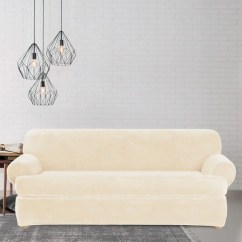 Overstock Sofa Covers Big Mickey Sofas Shop Sure Fit Stretch Plush Cream T-cushion Slipcover ...