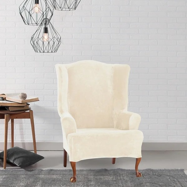 sure fit wing chair slipcover gray recliner with ottoman shop stretch plush cream free