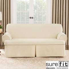 Sure Fit Cotton Duck Sofa Slipcover Mattress Toppers For Beds Natural Cord T-cushion - Free ...
