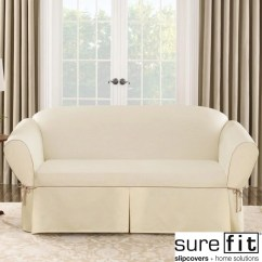 Sure Fit Cotton Duck Sofa Slipcover Cherry Tables Contrast Cord Natural
