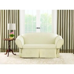Sure Fit Cotton Duck Sofa Slipcover Sleeper Bed Mechanism Contrast Cord Natural Loveseat ...