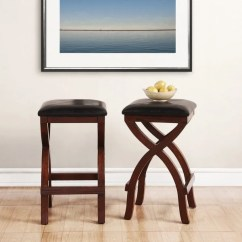 Backless Chair Height Stool Bedroom Rail Shop Jaidyn Espresso X Base 24 Inch Counter Set Of 2