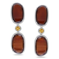 Shop Miadora Sterling Silver Garnet and Citrine Dangle